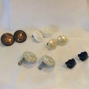 Five Non-Pierced Earrings Multi Colors
